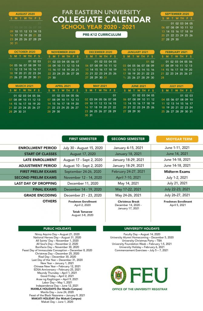 Academic Calendars for SY 2020-2021 • Far Eastern University